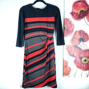 Tahari Arhtur S. Levine | Striped 3/4 Sleeve Dress